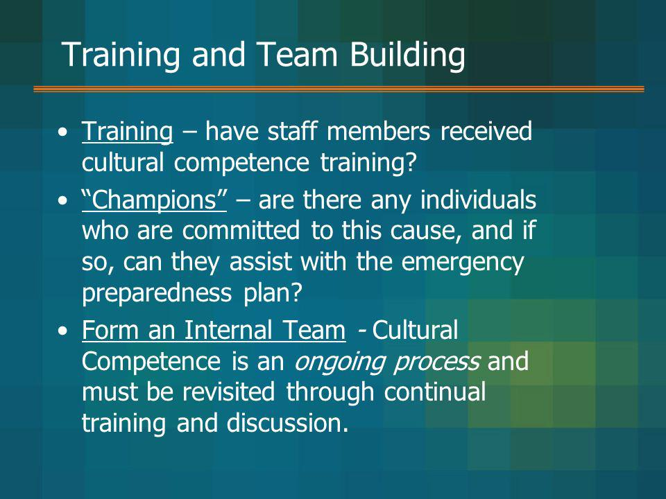 Training and Team Building