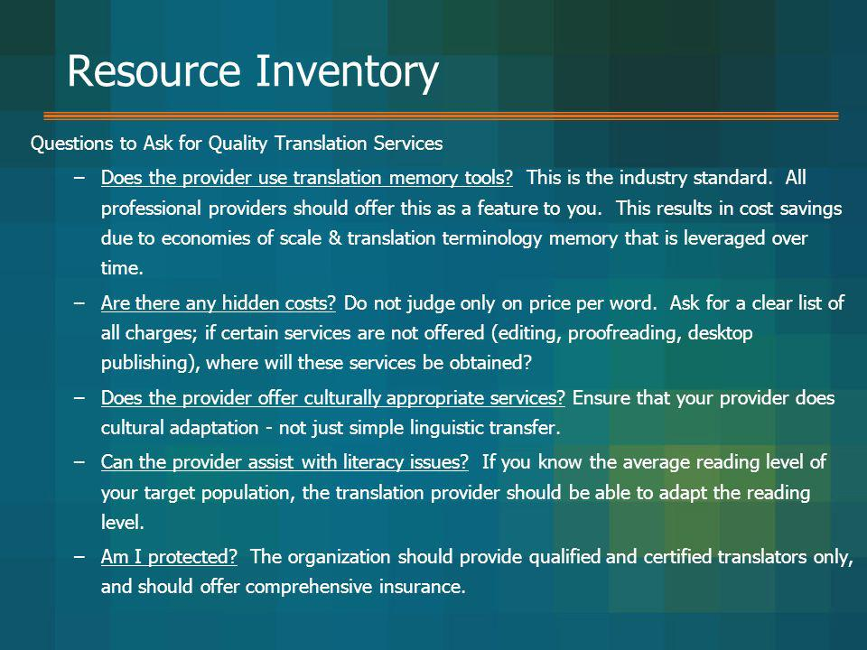 Resource Inventory Questions to Ask for Quality Translation Services