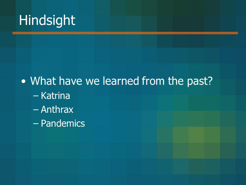 Hindsight What have we learned from the past Katrina Anthrax