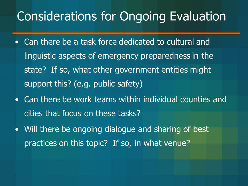 Considerations for Ongoing Evaluation