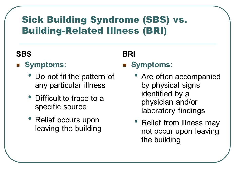 Sick Building Syndrome (SBS) vs. Building-Related Illness (BRI)