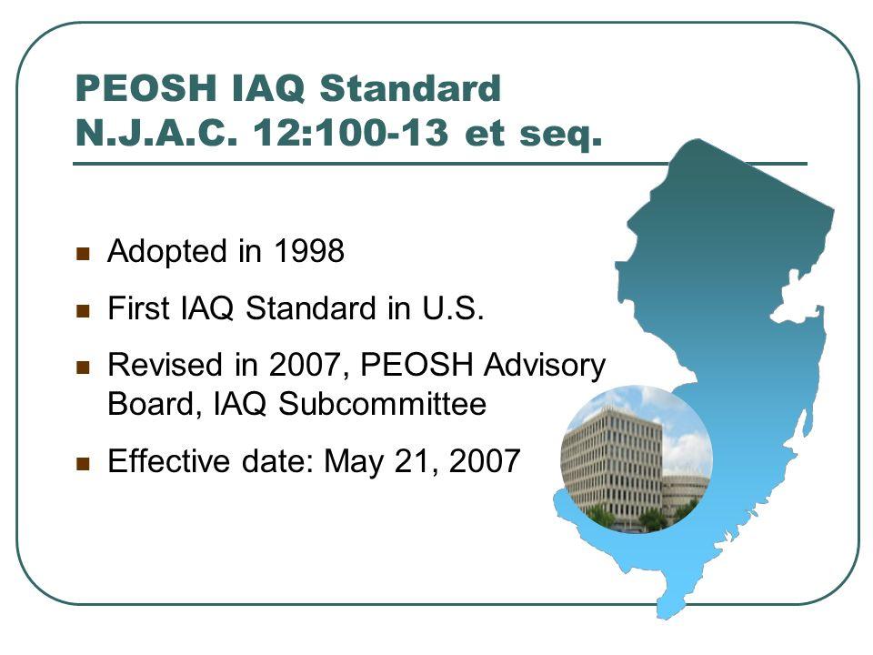 PEOSH IAQ Standard N.J.A.C. 12:100-13 et seq.