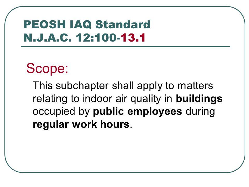 PEOSH IAQ Standard N.J.A.C. 12:100-13.1