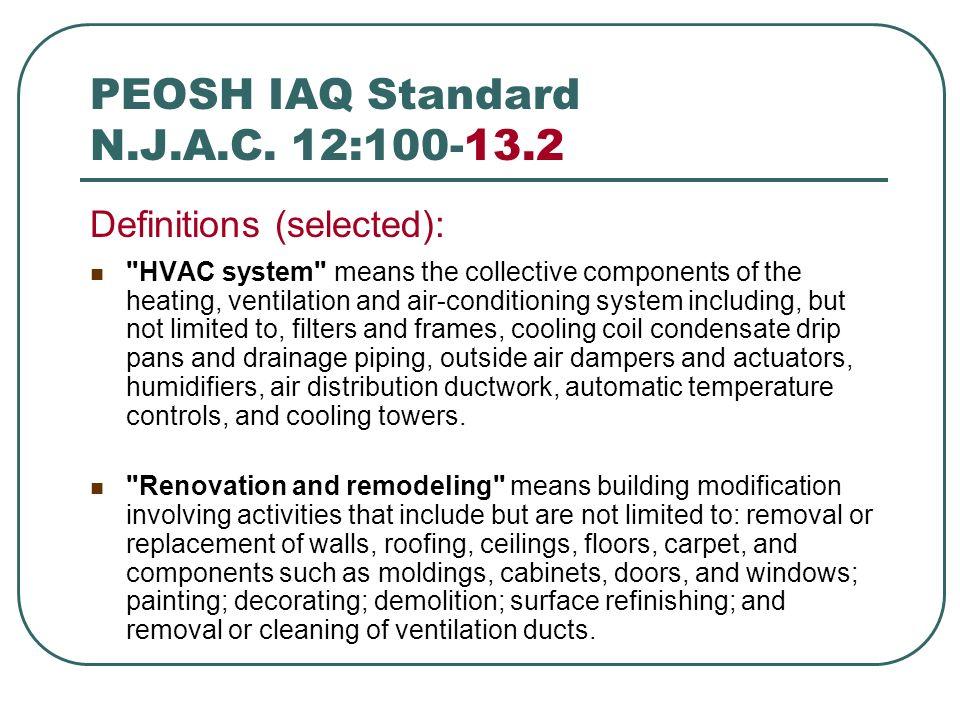 PEOSH IAQ Standard N.J.A.C. 12:100-13.2
