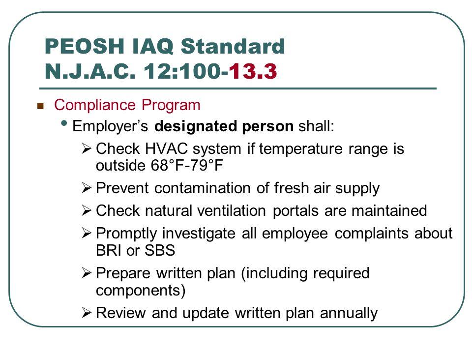 PEOSH IAQ Standard N.J.A.C. 12:100-13.3