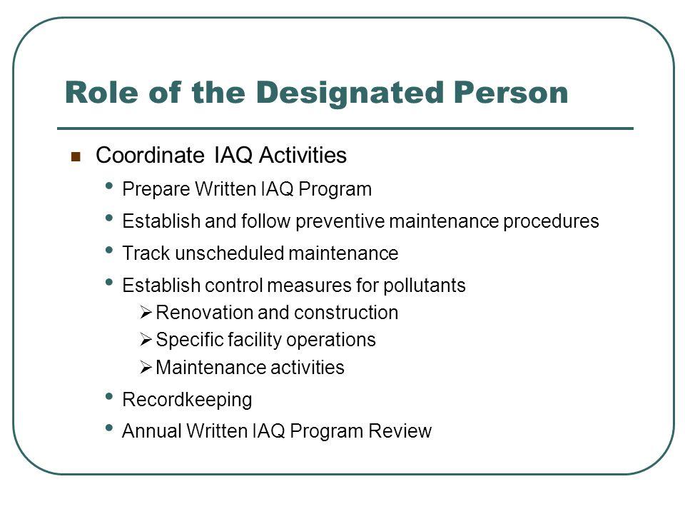 Role of the Designated Person