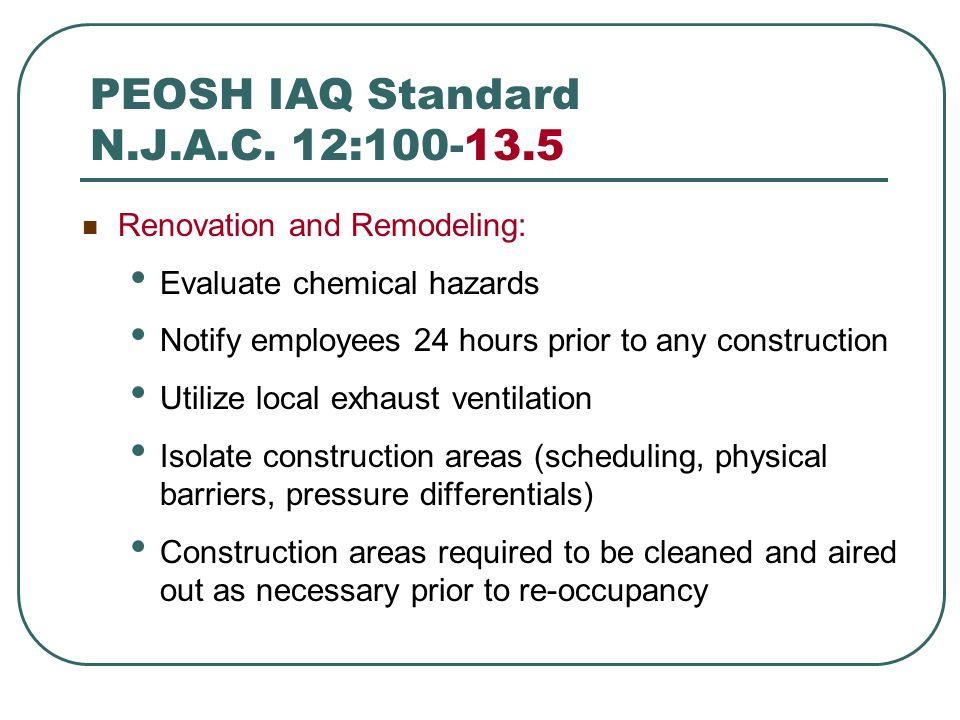 PEOSH IAQ Standard N.J.A.C. 12:100-13.5