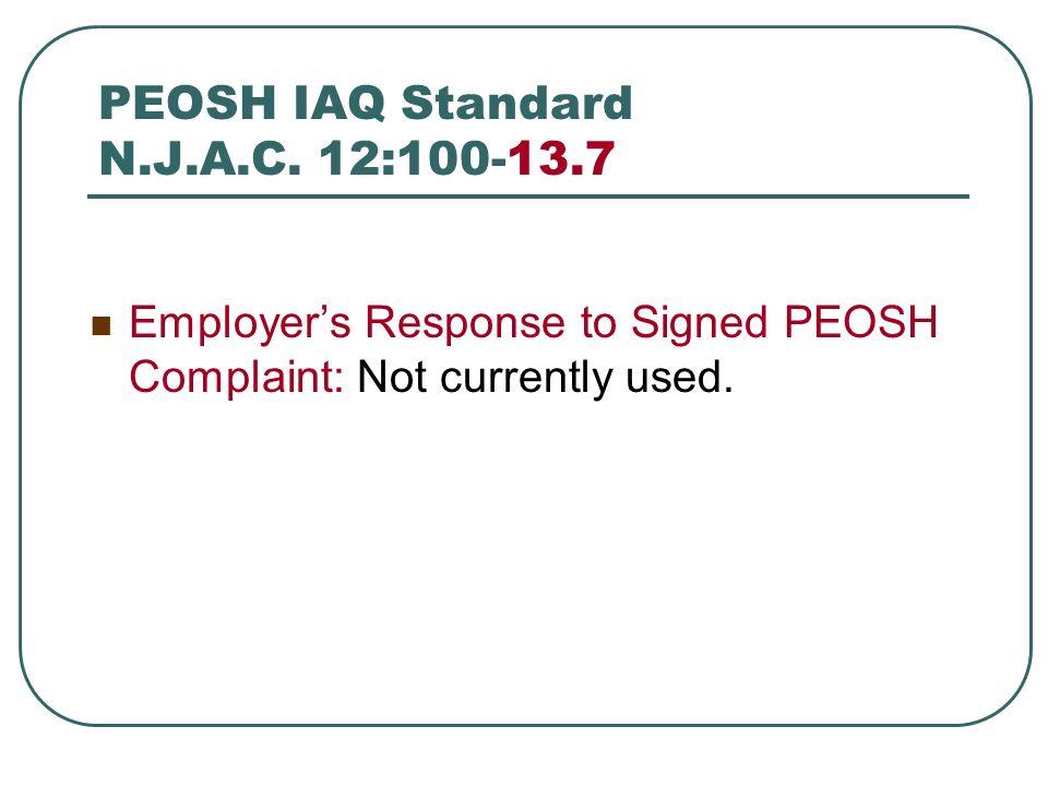 PEOSH IAQ Standard N.J.A.C. 12:100-13.7