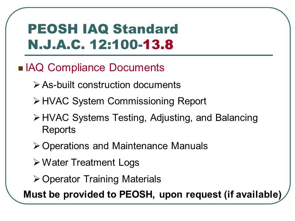 PEOSH IAQ Standard N.J.A.C. 12:100-13.8