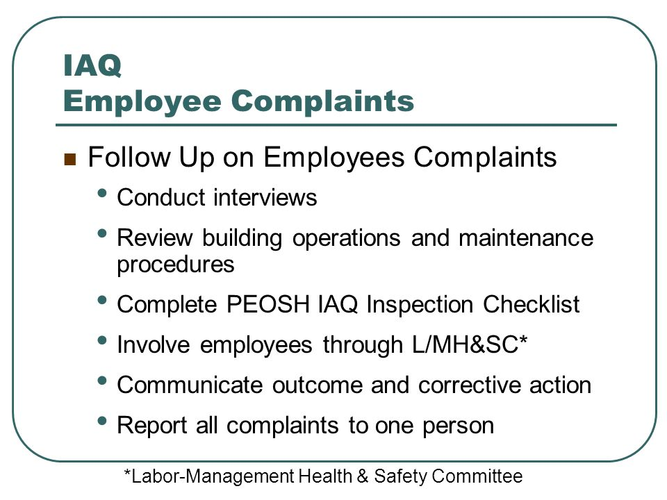 IAQ Employee Complaints