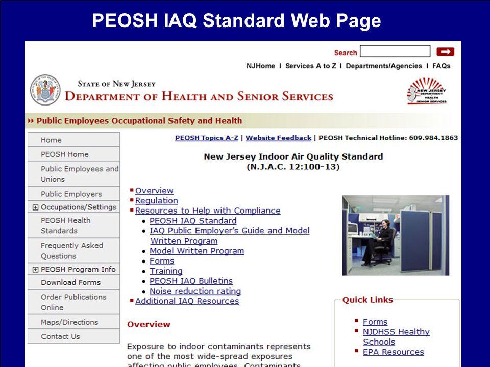 PEOSH IAQ Standard Web Page