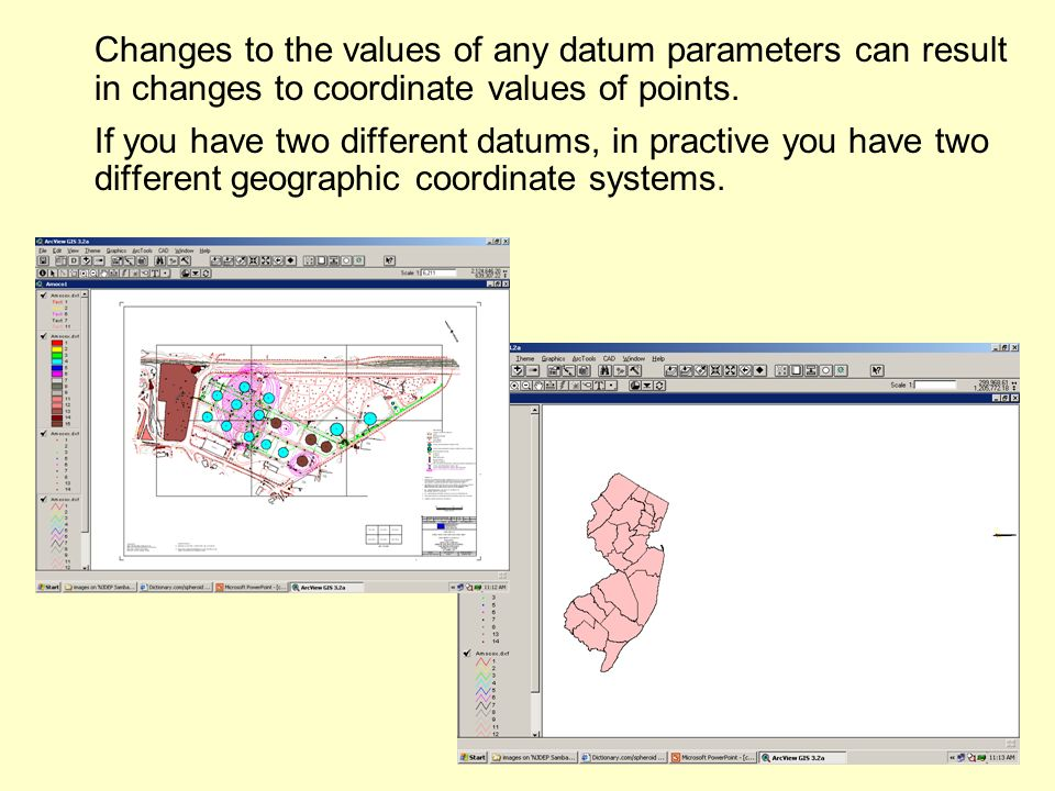 Changes to the values of any datum parameters can result in changes to coordinate values of points.