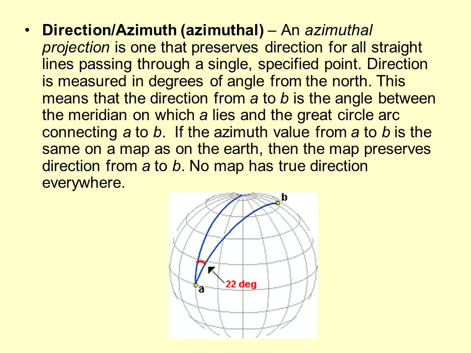 Direction/Azimuth (azimuthal) – An azimuthal projection is one that preserves direction for all straight lines passing through a single, specified point.