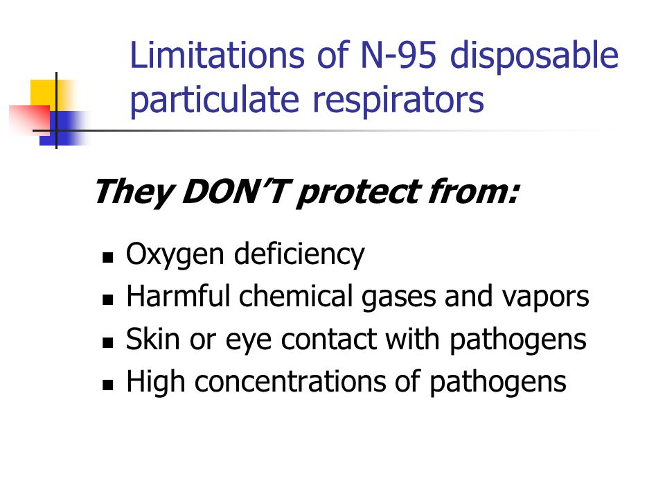 Limitations of N-95 disposable particulate respirators