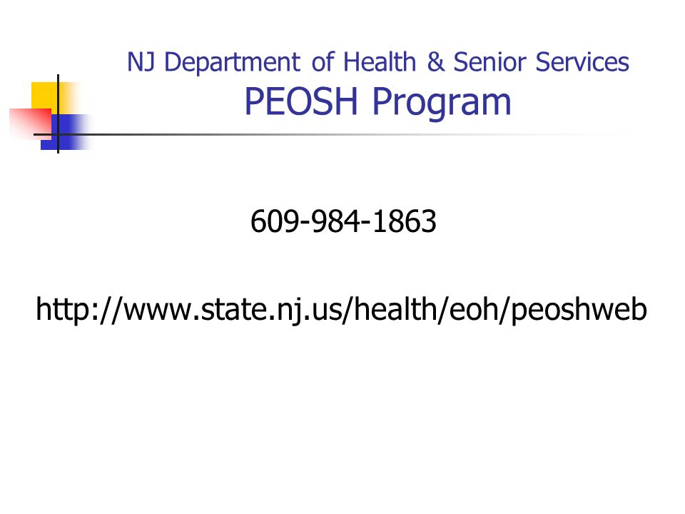 NJ Department of Health & Senior Services PEOSH Program
