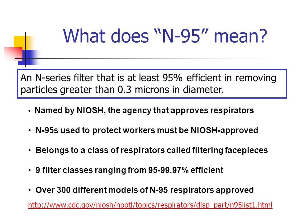 What does N-95 mean An N-series filter that is at least 95% efficient in removing particles greater than 0.3 microns in diameter.