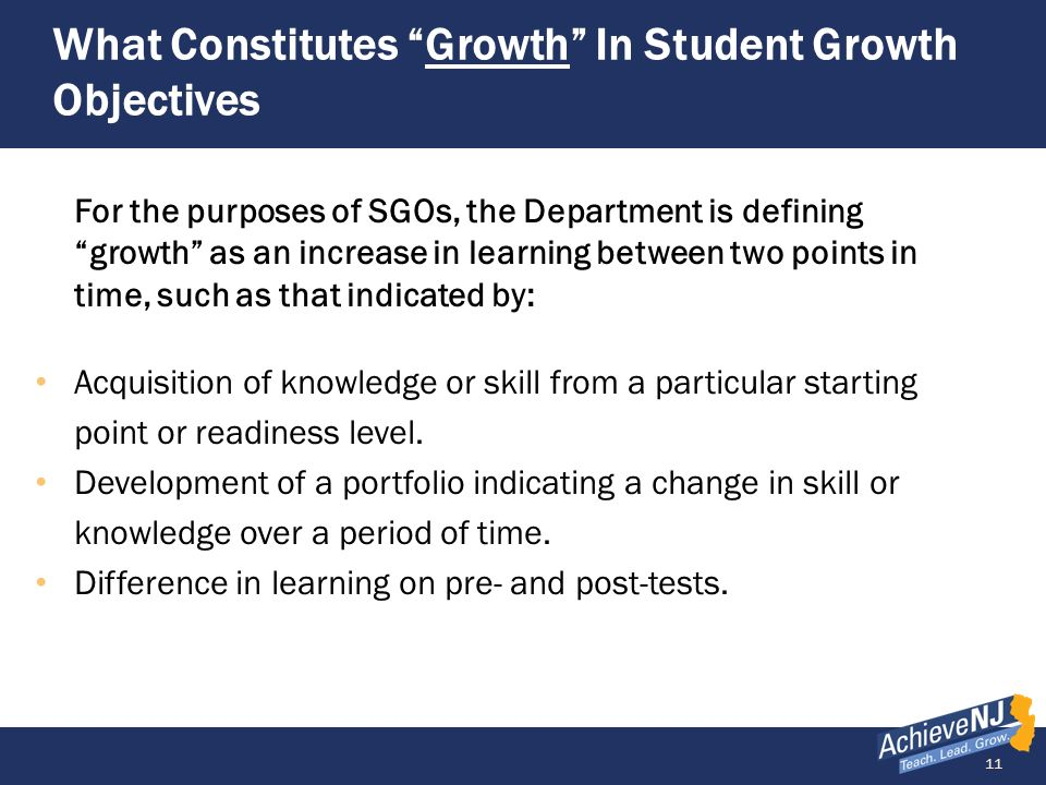 What Constitutes Growth In Student Growth Objectives