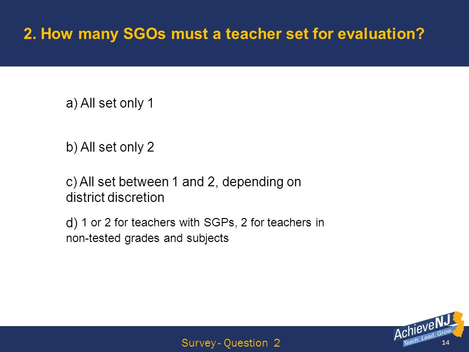 2. How many SGOs must a teacher set for evaluation