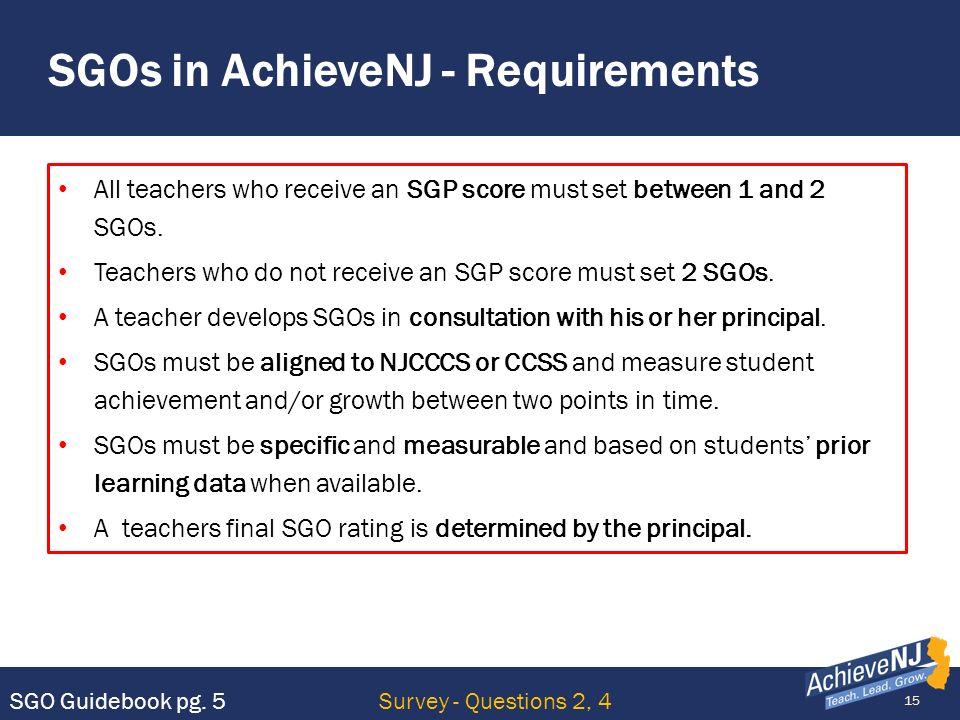 SGOs in AchieveNJ - Requirements
