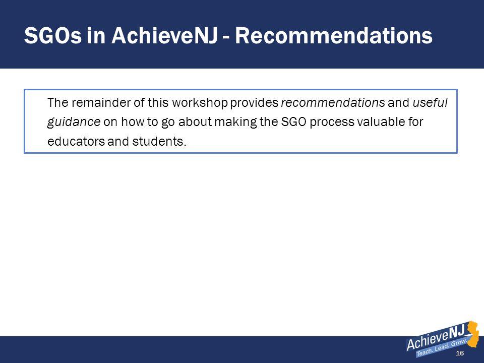 SGOs in AchieveNJ - Recommendations