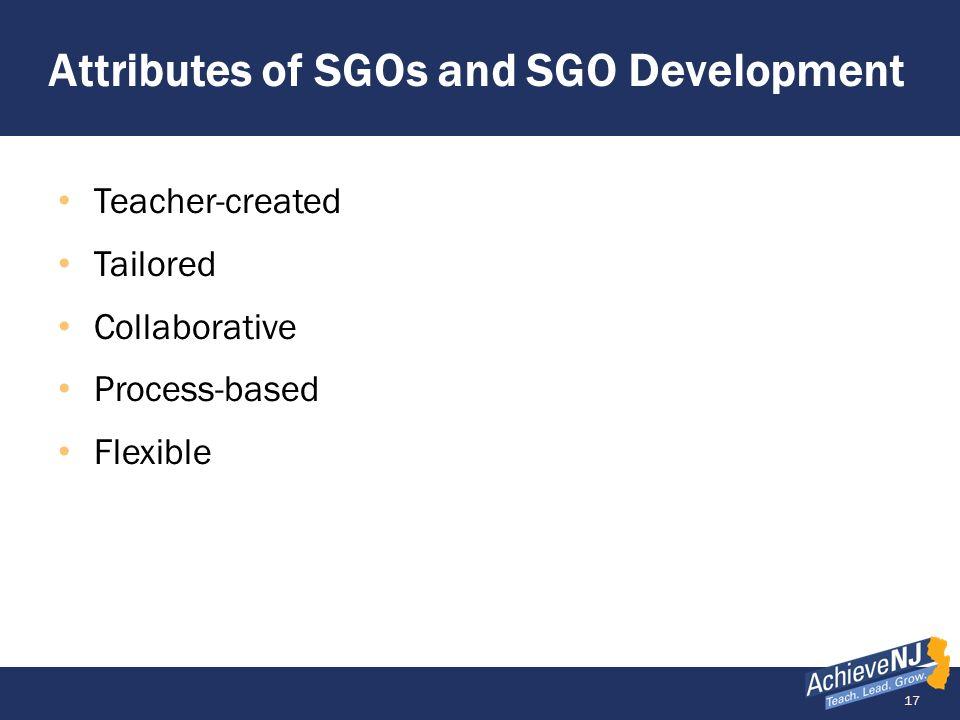 Attributes of SGOs and SGO Development