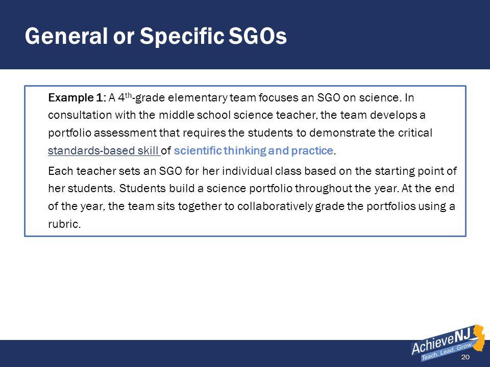General or Specific SGOs