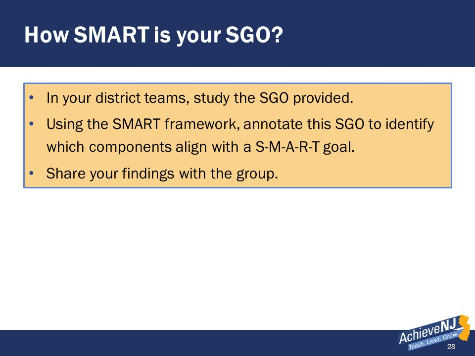 How SMART is your SGO In your district teams, study the SGO provided.