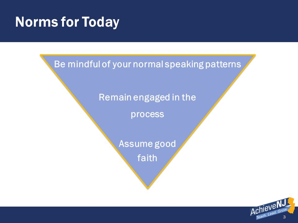 Norms for Today Be mindful of your normal speaking patterns Remain engaged in the process Assume good faith