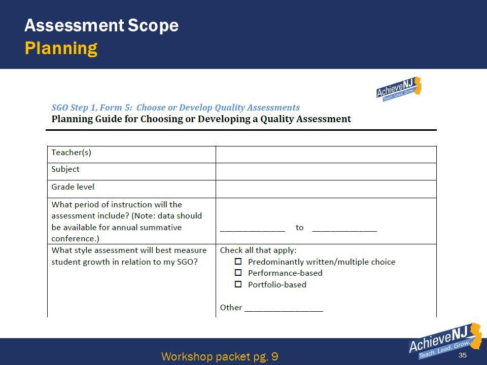 Assessment Scope Planning
