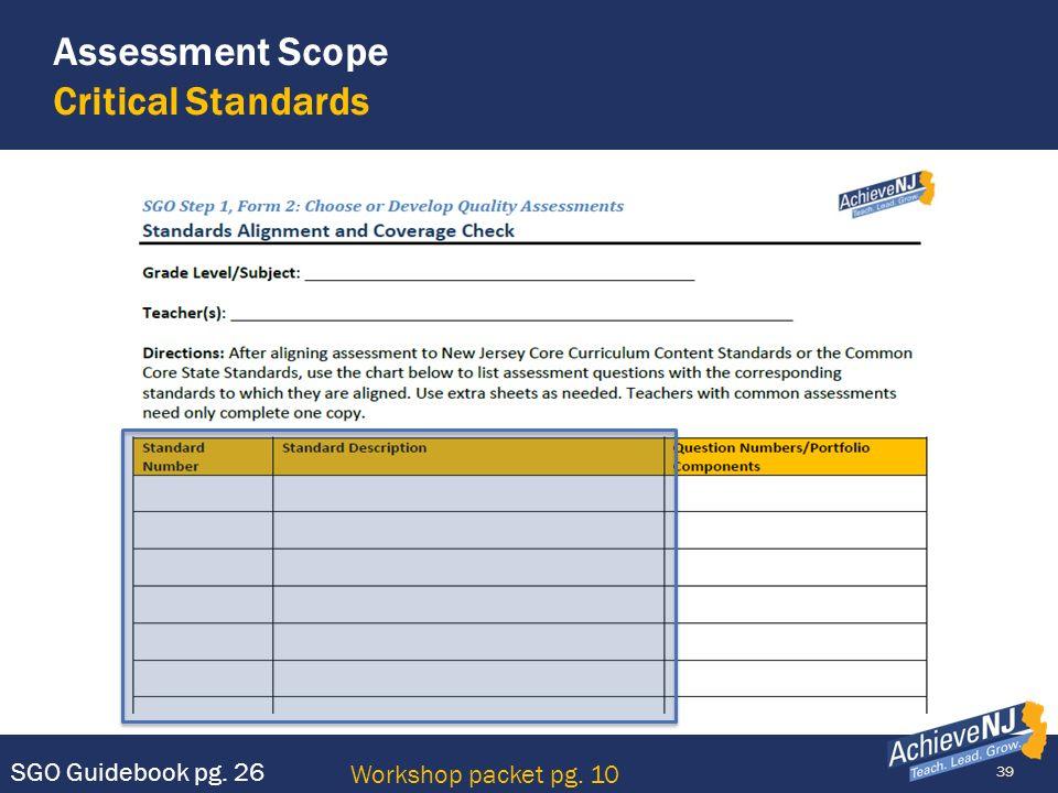 Assessment Scope Critical Standards