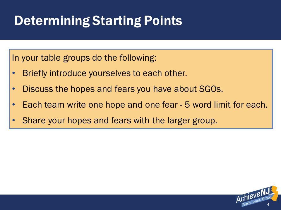 Determining Starting Points