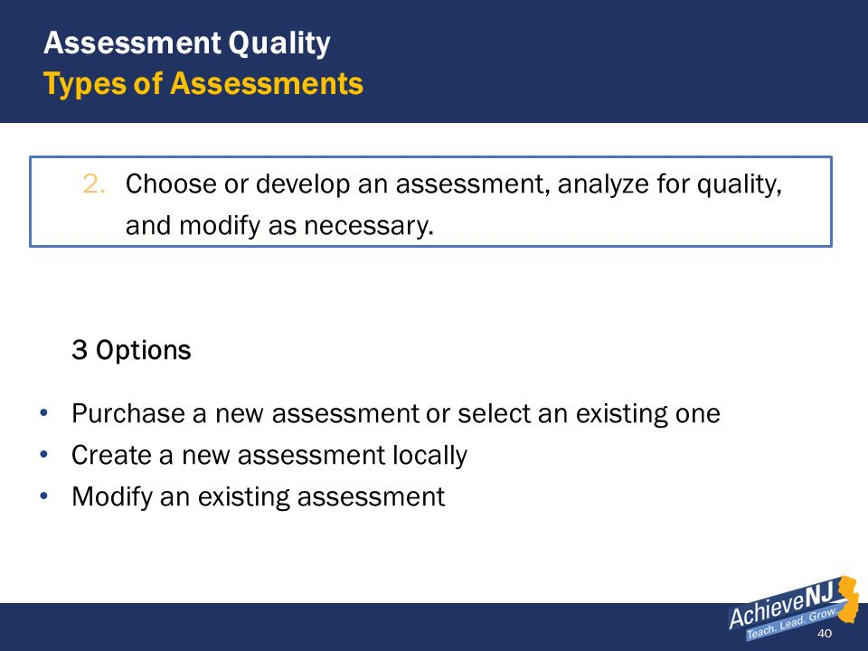 Assessment Quality Types of Assessments