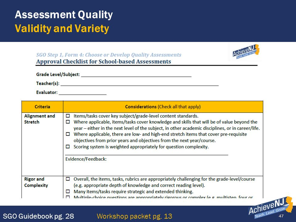 Assessment Quality Validity and Variety