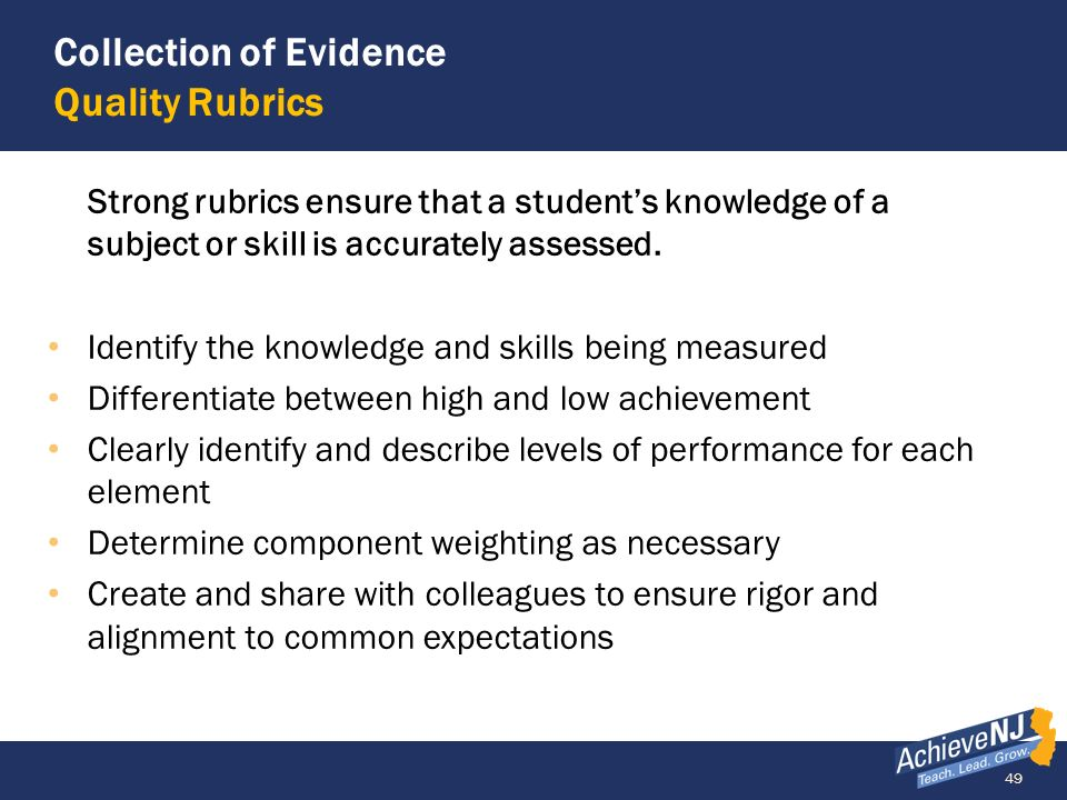 Collection of Evidence Quality Rubrics