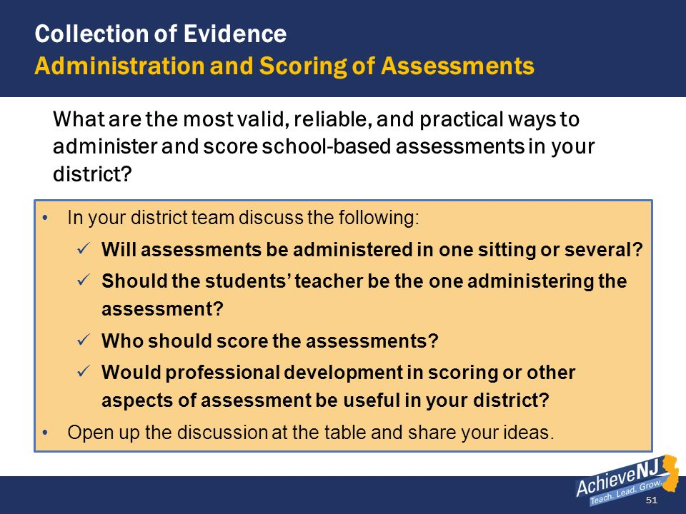 Collection of Evidence Administration and Scoring of Assessments