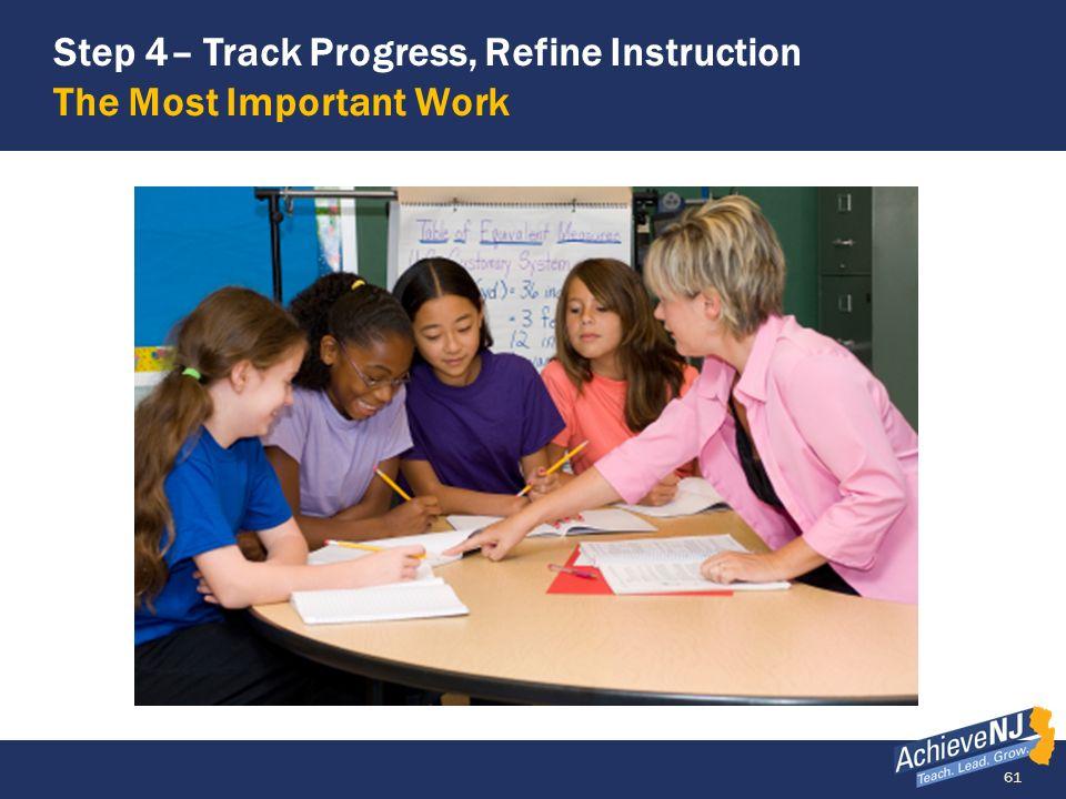 Step 4– Track Progress, Refine Instruction The Most Important Work