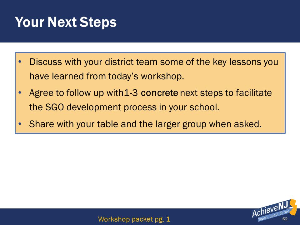 Your Next Steps Discuss with your district team some of the key lessons you have learned from today's workshop.