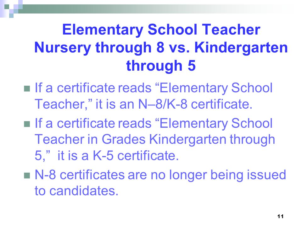 Elementary School Teacher Nursery through 8 vs. Kindergarten through 5