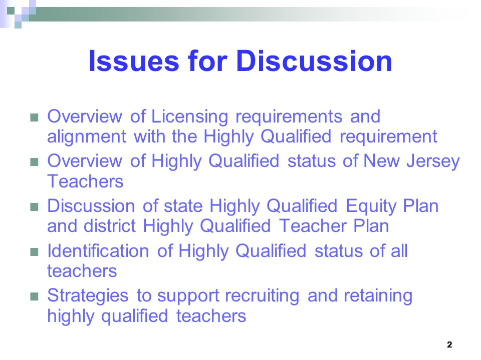 Issues for Discussion Overview of Licensing requirements and alignment with the Highly Qualified requirement.
