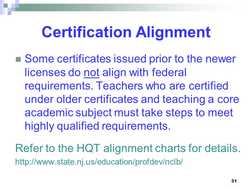 Certification Alignment
