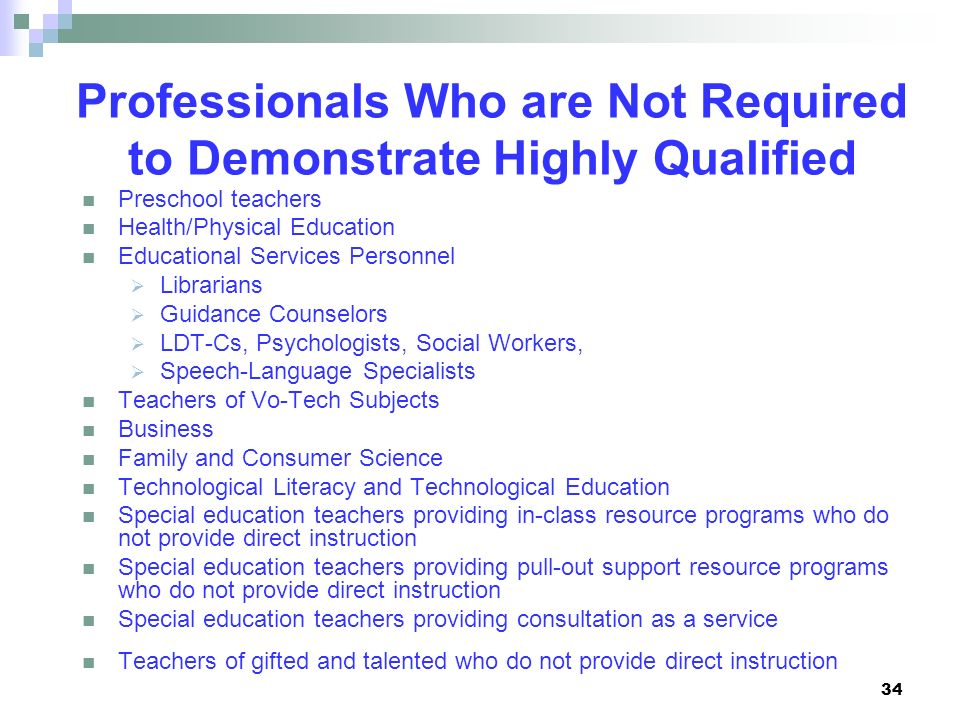 Professionals Who are Not Required to Demonstrate Highly Qualified