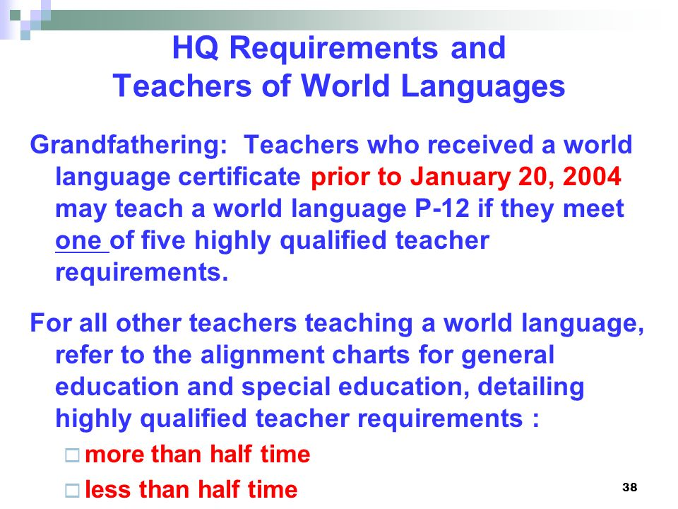 HQ Requirements and Teachers of World Languages