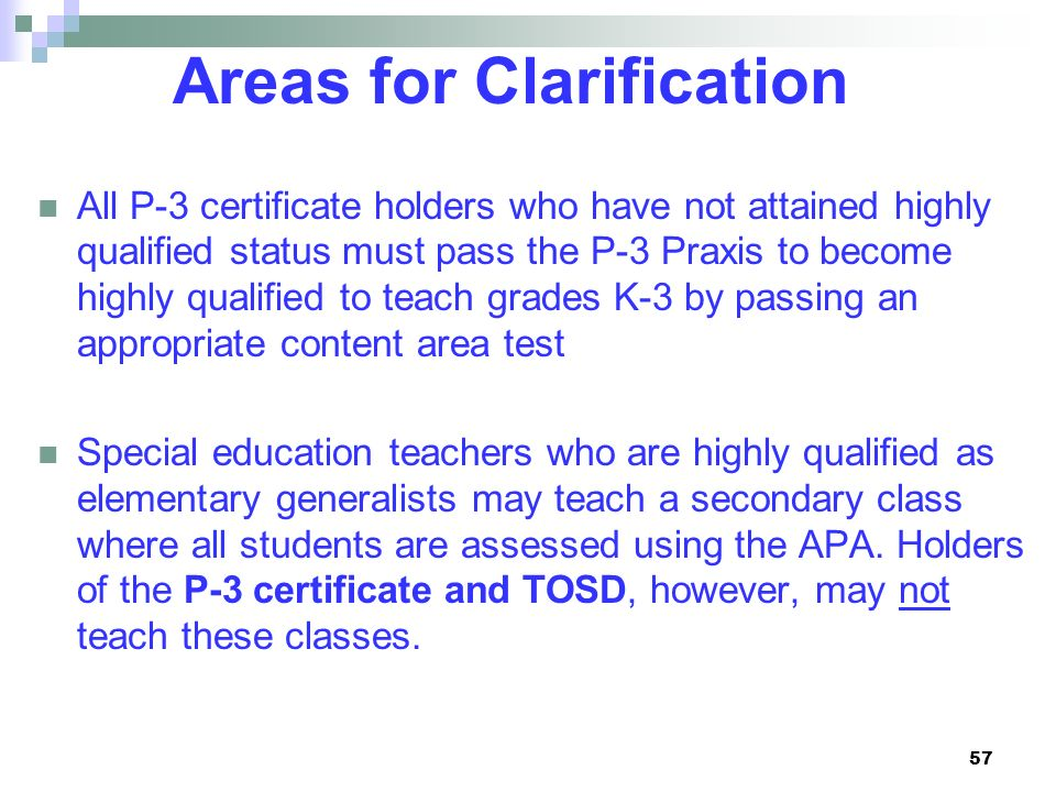 Areas for Clarification