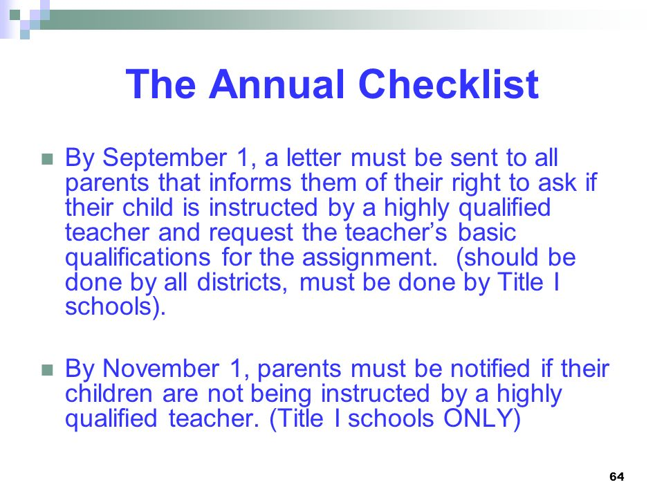 The Annual Checklist