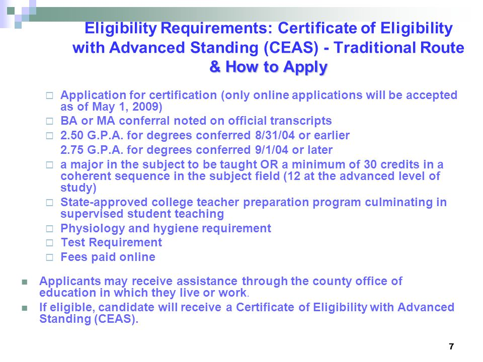 Eligibility Requirements: Certificate of Eligibility with Advanced Standing (CEAS) - Traditional Route & How to Apply