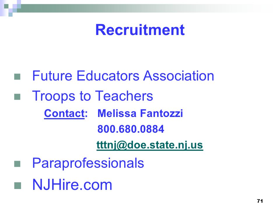 Recruitment NJHire.com Future Educators Association Troops to Teachers