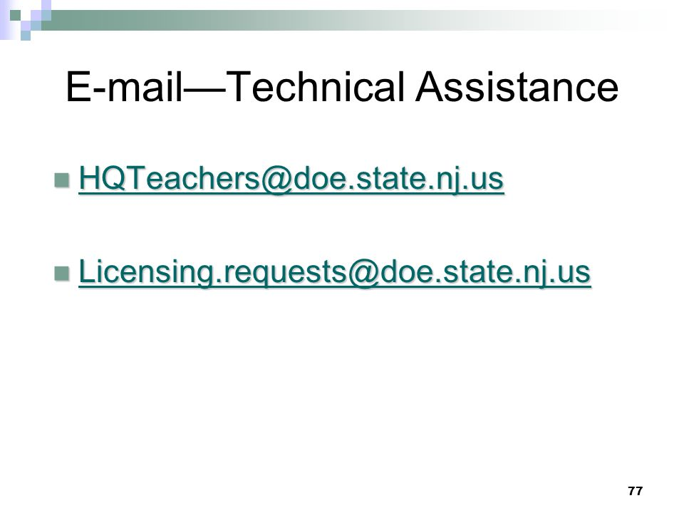 —Technical Assistance