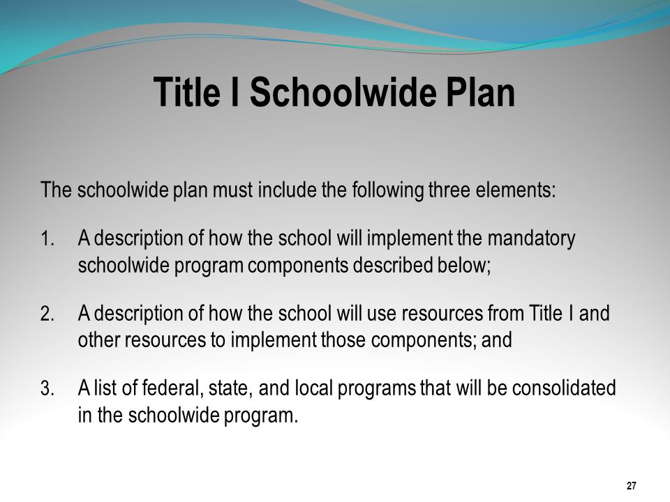Title I Schoolwide Plan