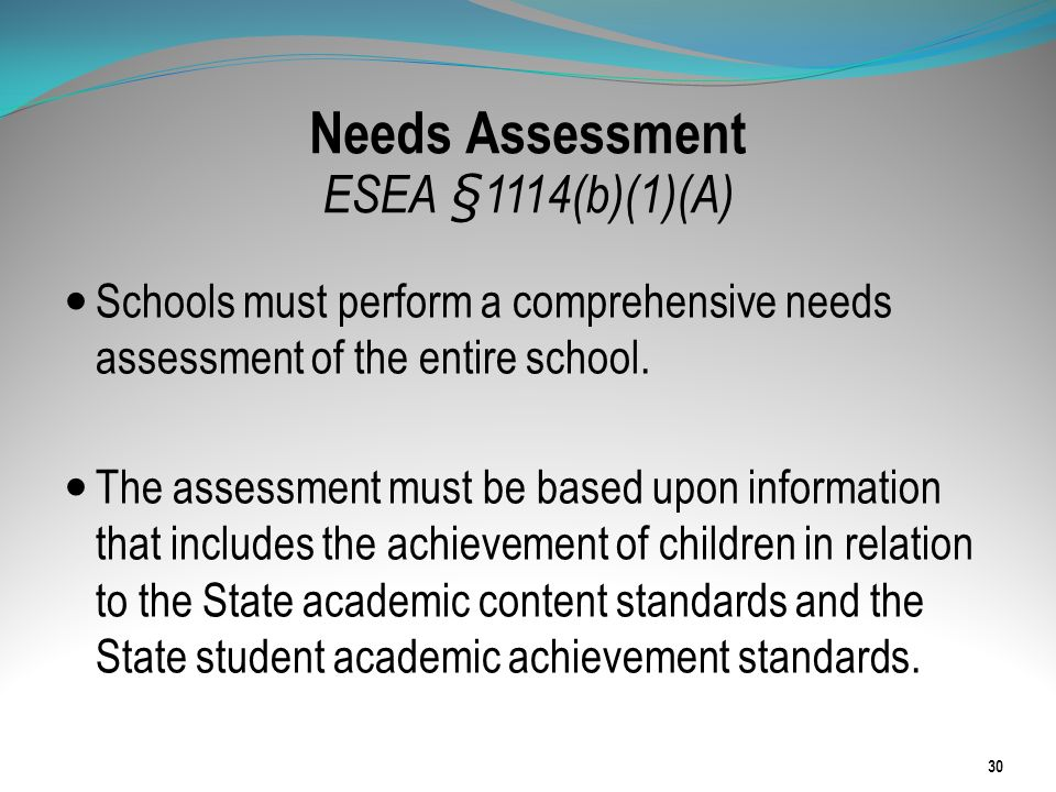 Needs Assessment ESEA §1114(b)(1)(A)