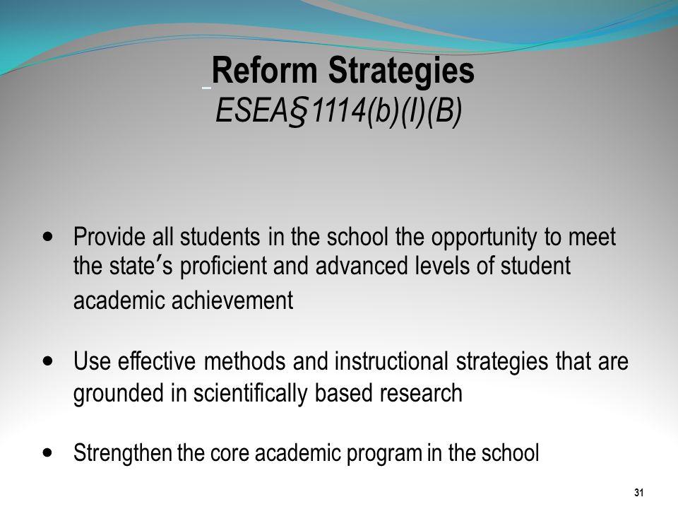 Reform Strategies ESEA§1114(b)(I)(B)
